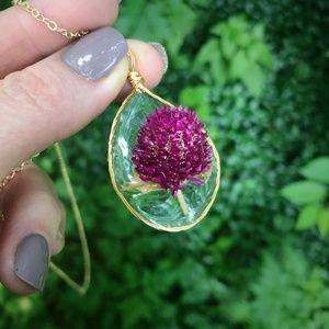 Jewelry - Wire Wrapped Dried Flower Teardrop Necklace